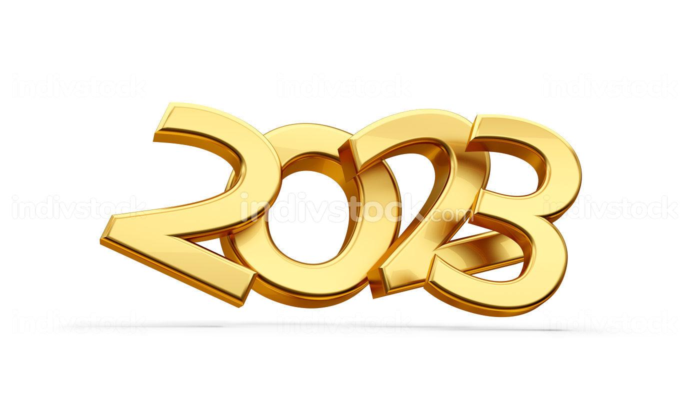 golden metallic 2023 symbol with shadow 3d-illustration