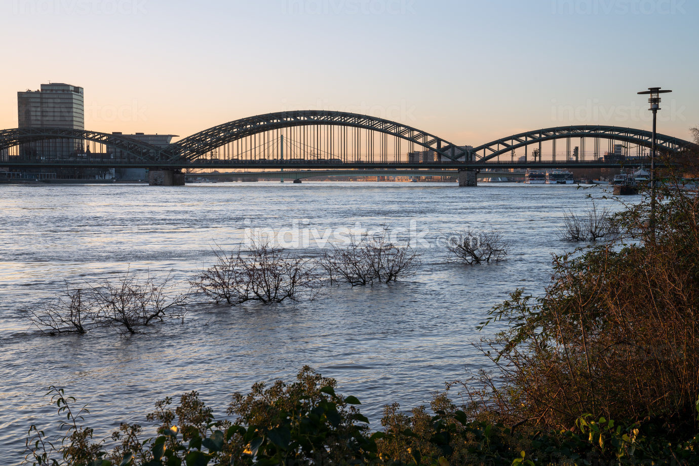 High water on the river Rhine in Cologne, Germany