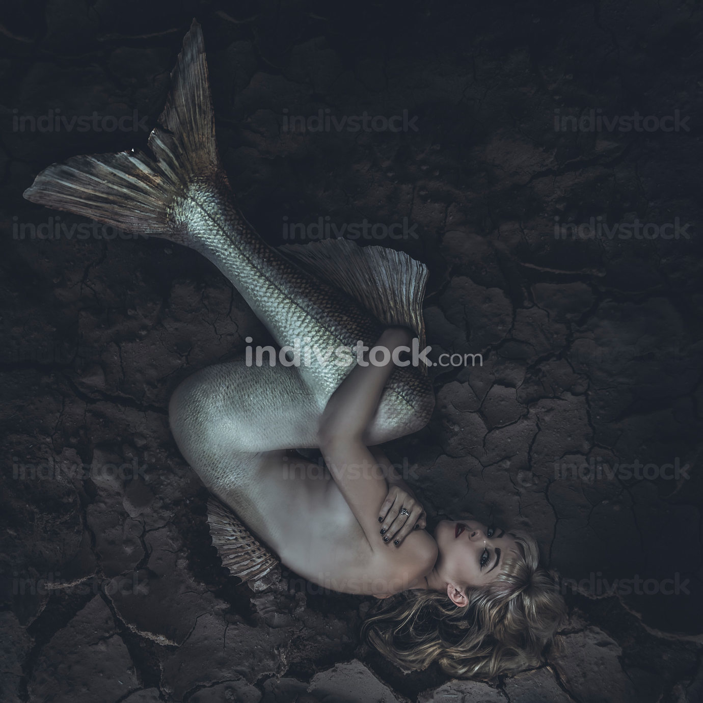 mermaid trapped in a sea of ​​mud, concept fantasy fish woma