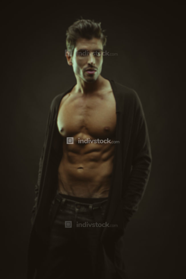 muscular man brown hair, caucasian young Spanish naked torso wit