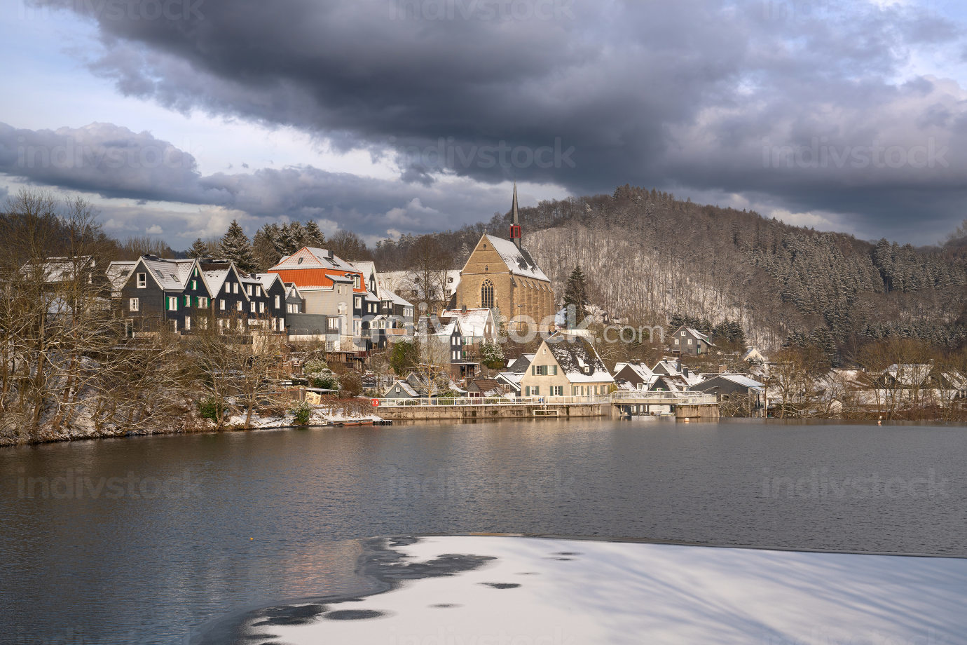 Panoramic image of Beyenburg close to Wuppertal on a winter day with snow covered landscape, Bergisches Land, Germany
