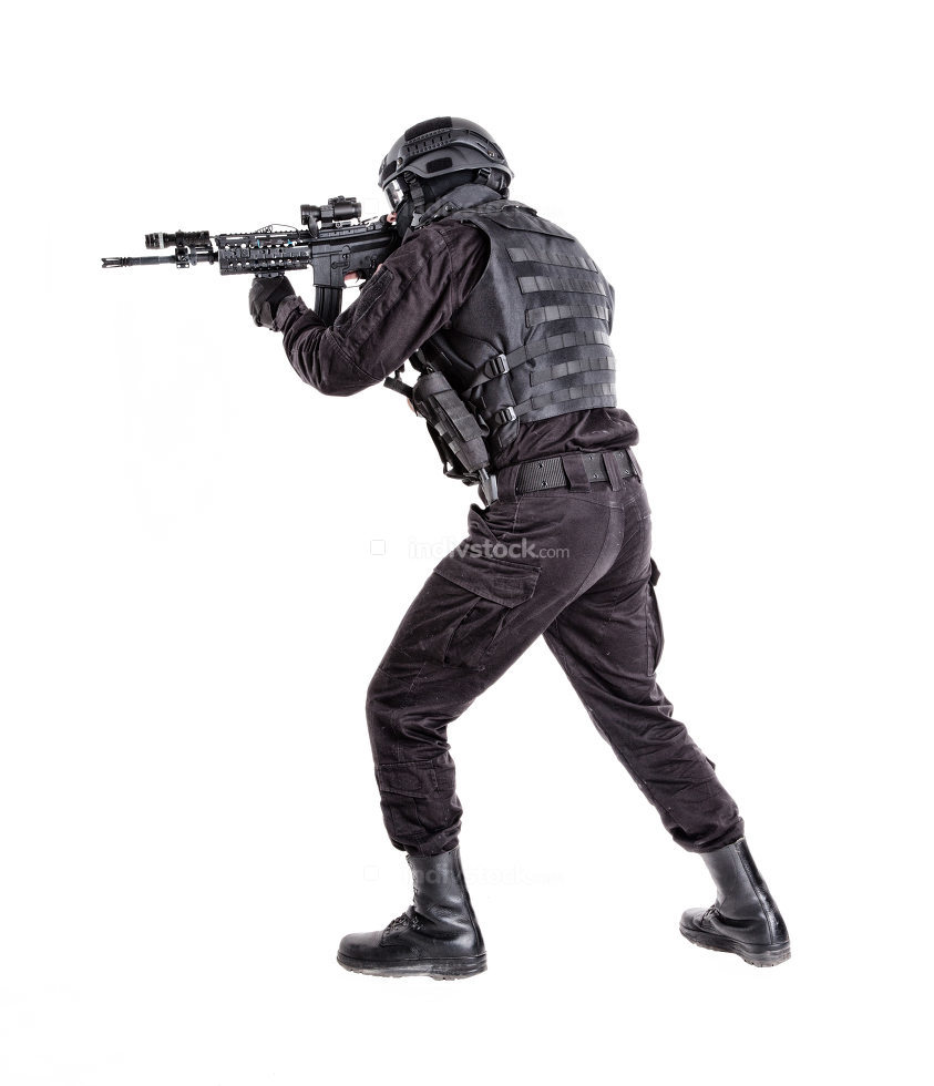 Police anti terrorism squad fighter, SWAT team shooter ready for fight, moving forward with wariness, keeping weapon ready for shoot, aiming service rifle studio shoot isolated on white background