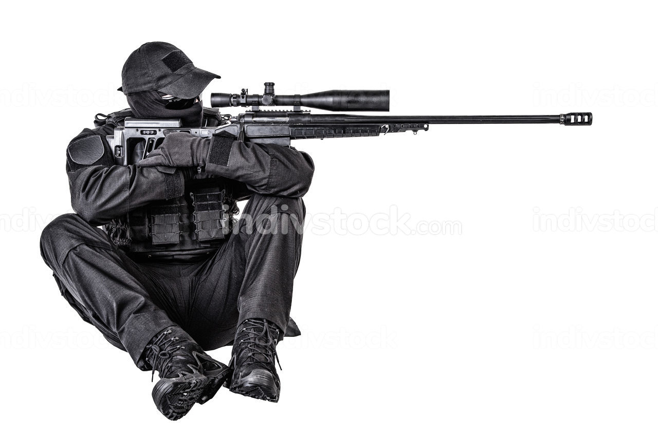 Police special forces, security operations team, SWAT group sniper in blank black uniforms, sitting and aiming with sniper rifle equipped telescopic optical sight, isolated on white studio shoot