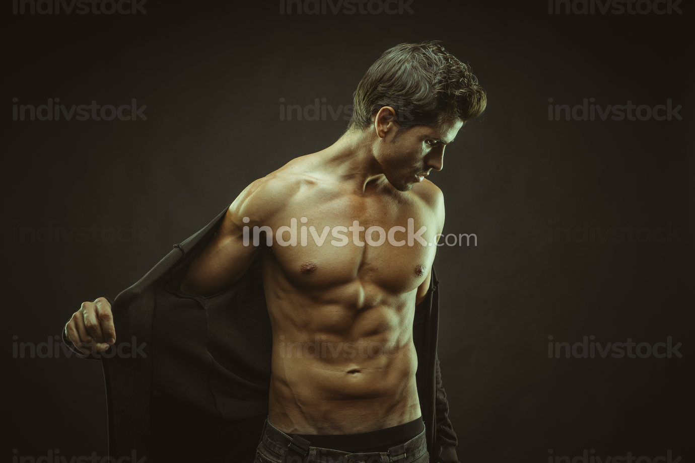 Power, muscular man brown hair, caucasian young Spanish naked to