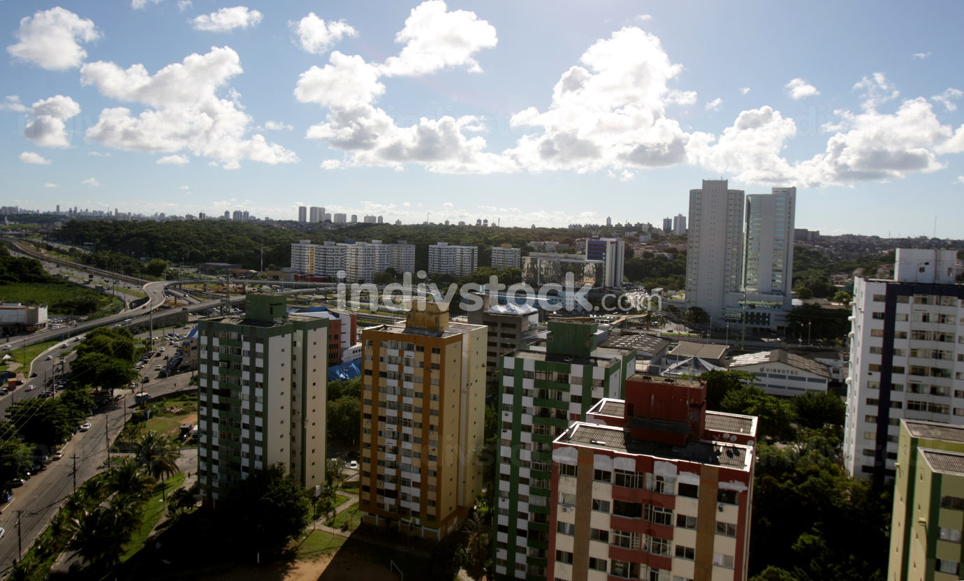 salvador, bahia Brazil, april 18, 2017, Aerial view of buildings and residences in the neighborhood of Imbui in the city of Salvador