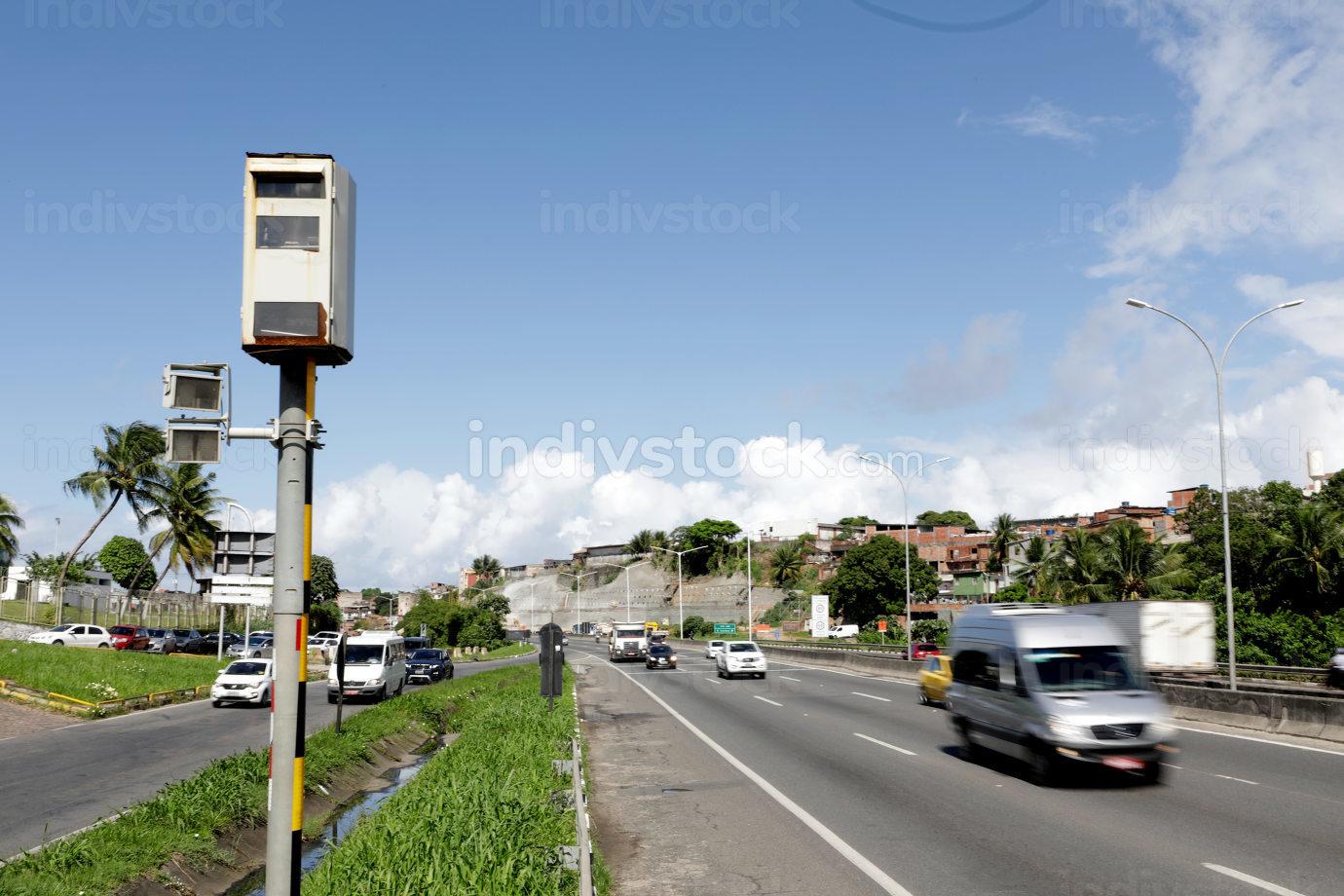 salvador, bahia Brazil, April 24, 2019, speed radar deployed on the BR 324 highway.