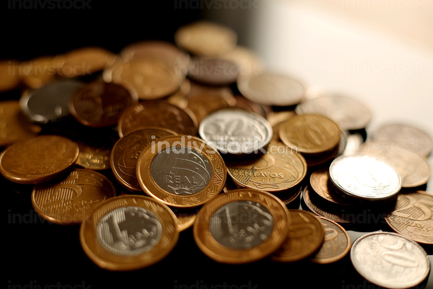 salvador, bahia Brazil, january 23, 2015, currency used in brazil, Heaped real coins forming collection in the city of Salvador