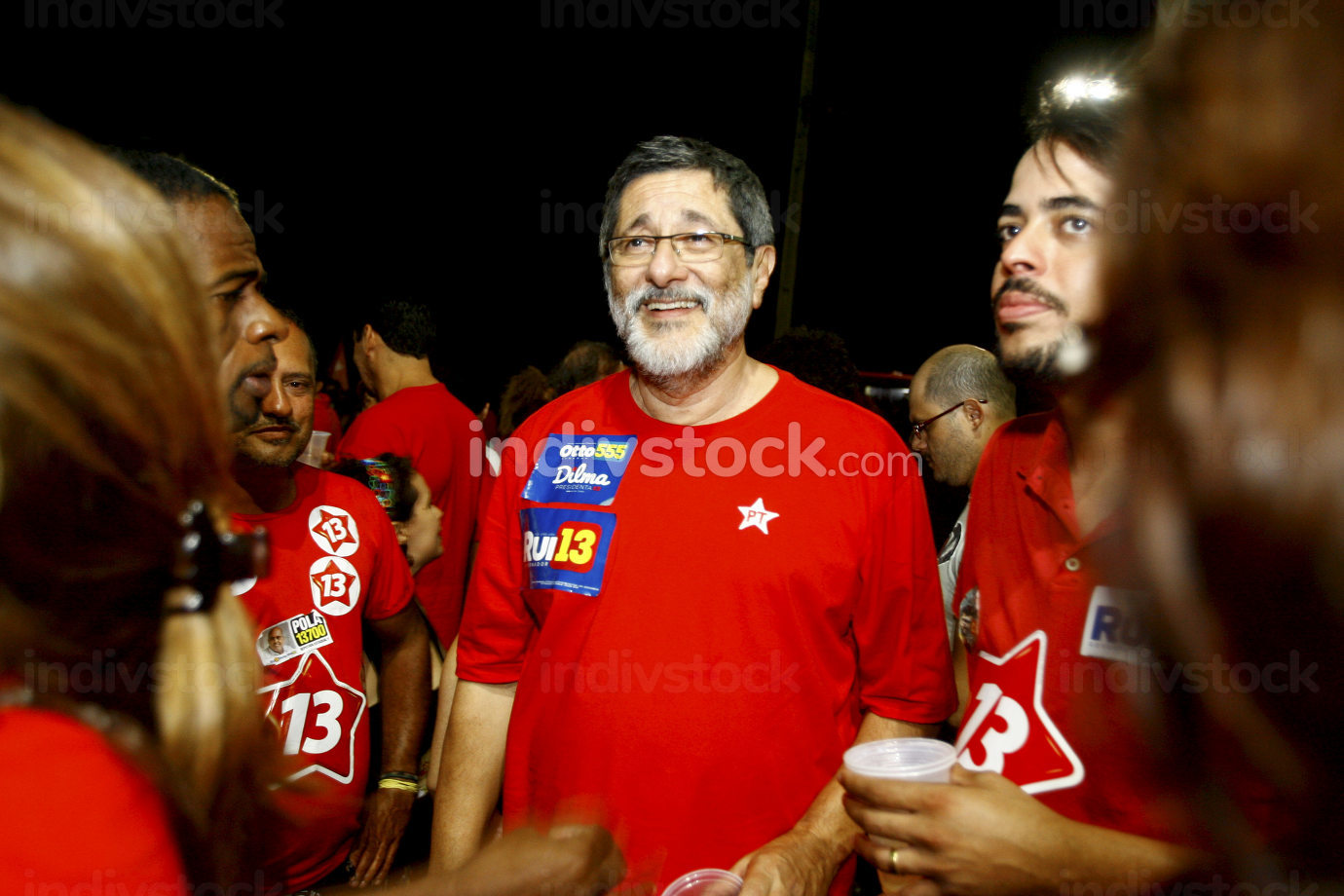 salvador, bahia Brazil, october 5, 2014, Workers Party-PT-militants celebrate in Rio Vermelho neighborhood in Salvador the victory of Rui Costa, elected Governor of Bahia