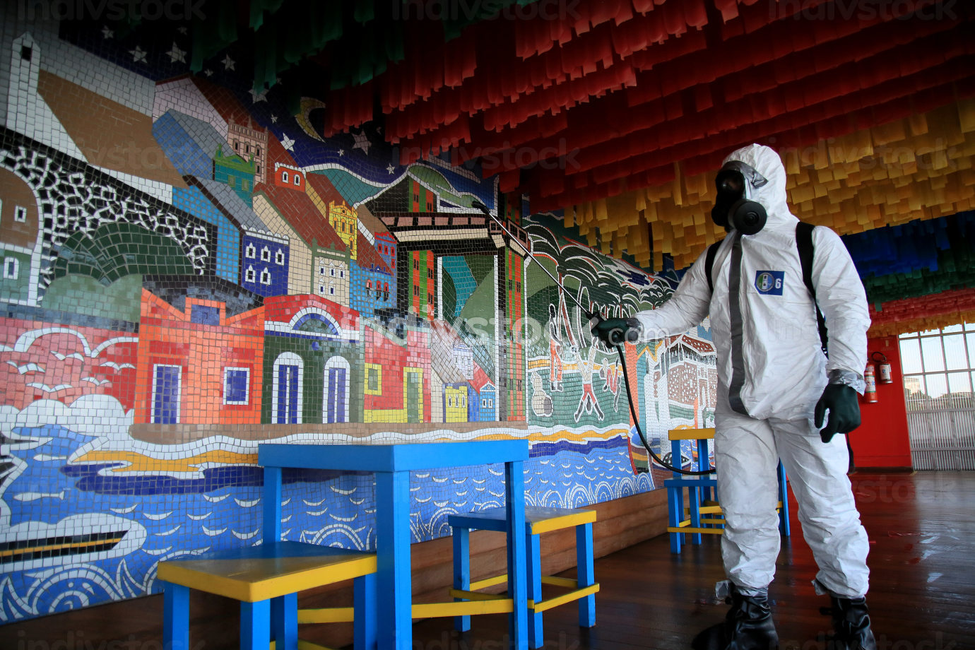 salvador, bahia, brazil-february 10, 2021: military personnel from the Armed Forces perform disinfection at the Casa do Carnaval, in the historic center, in the city of Salvador.