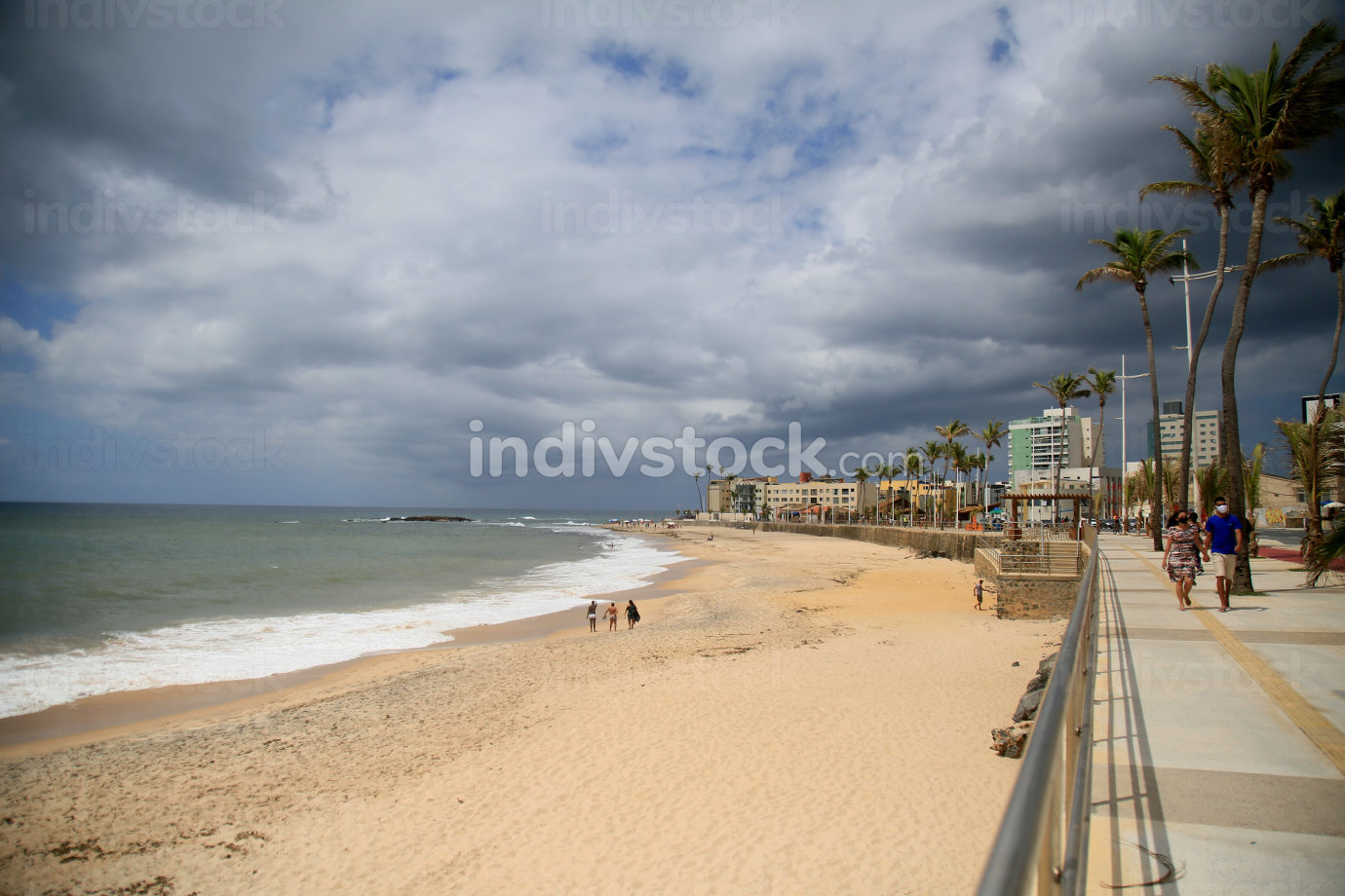 salvador, bahia, brazil-february 5, 2021: view of clouds carried in the sky, at Amaralina beach, in the city of Salvador.