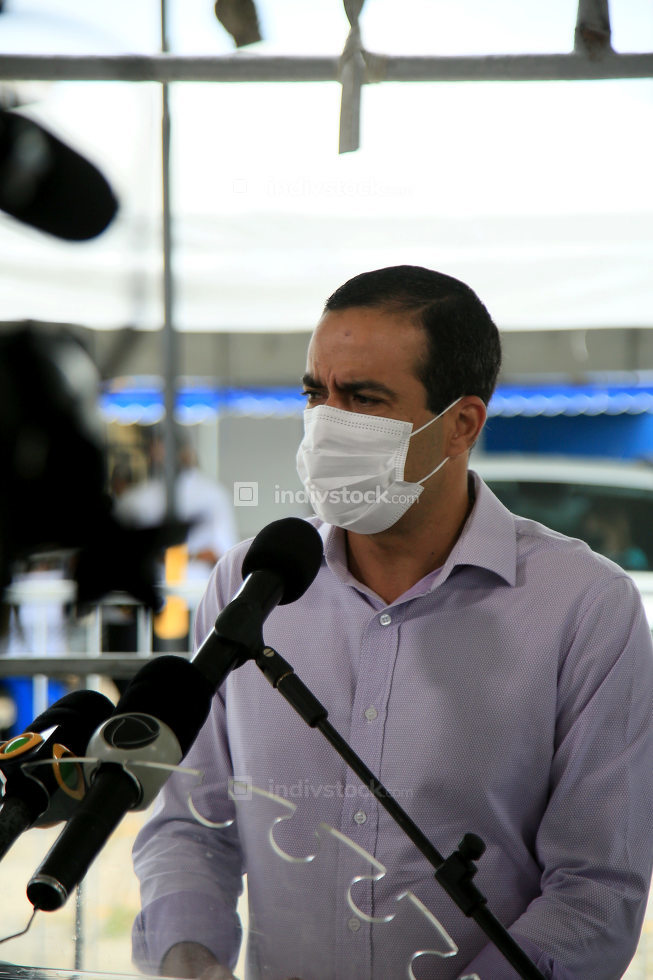 salvador, bahia, brazil-february 8, 2021: Bruno Reis, mayor of the city of Salvador, talks about actions taken in vaccination against the coron virus.
