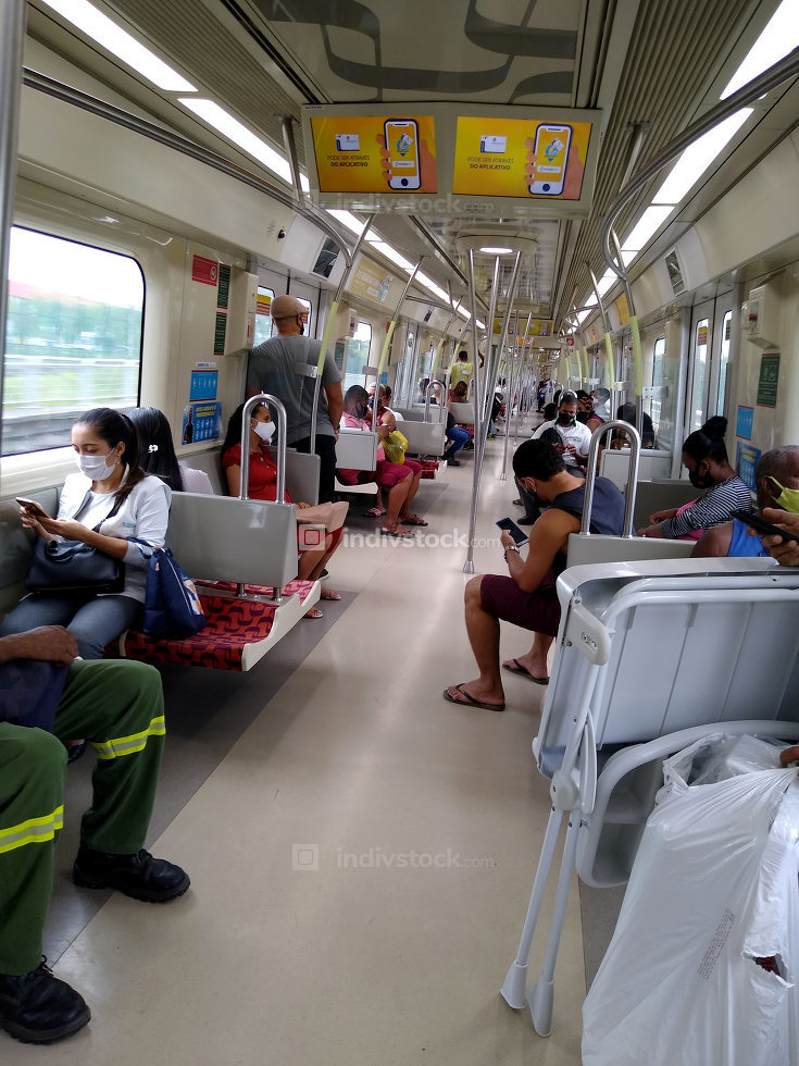 salvador, bahia, brazil-january 21, 2021: people not seen wearing facial masks in a subway car in the city of Salvador.
