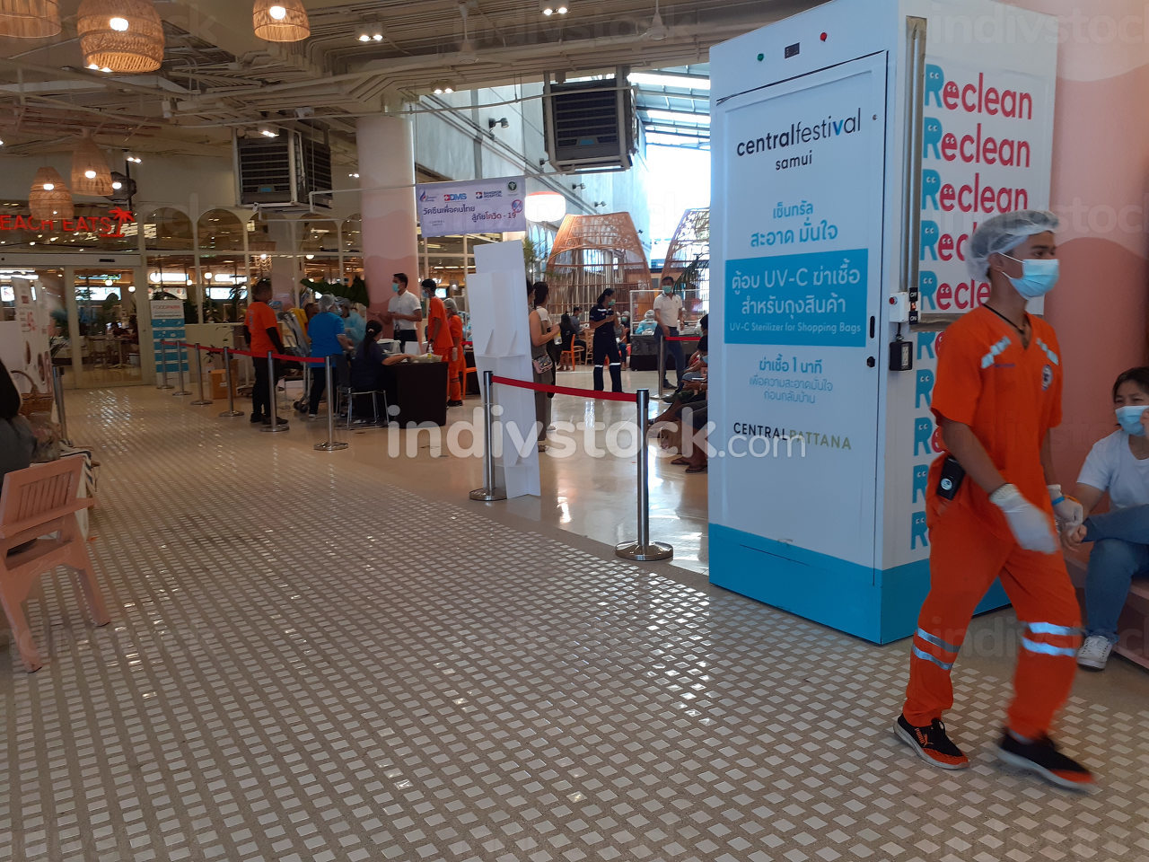 Thailand on the island Koh Samui, Covid-19 mass vaccination in the shopping center named Central Festival on Sunday April 25, 2021