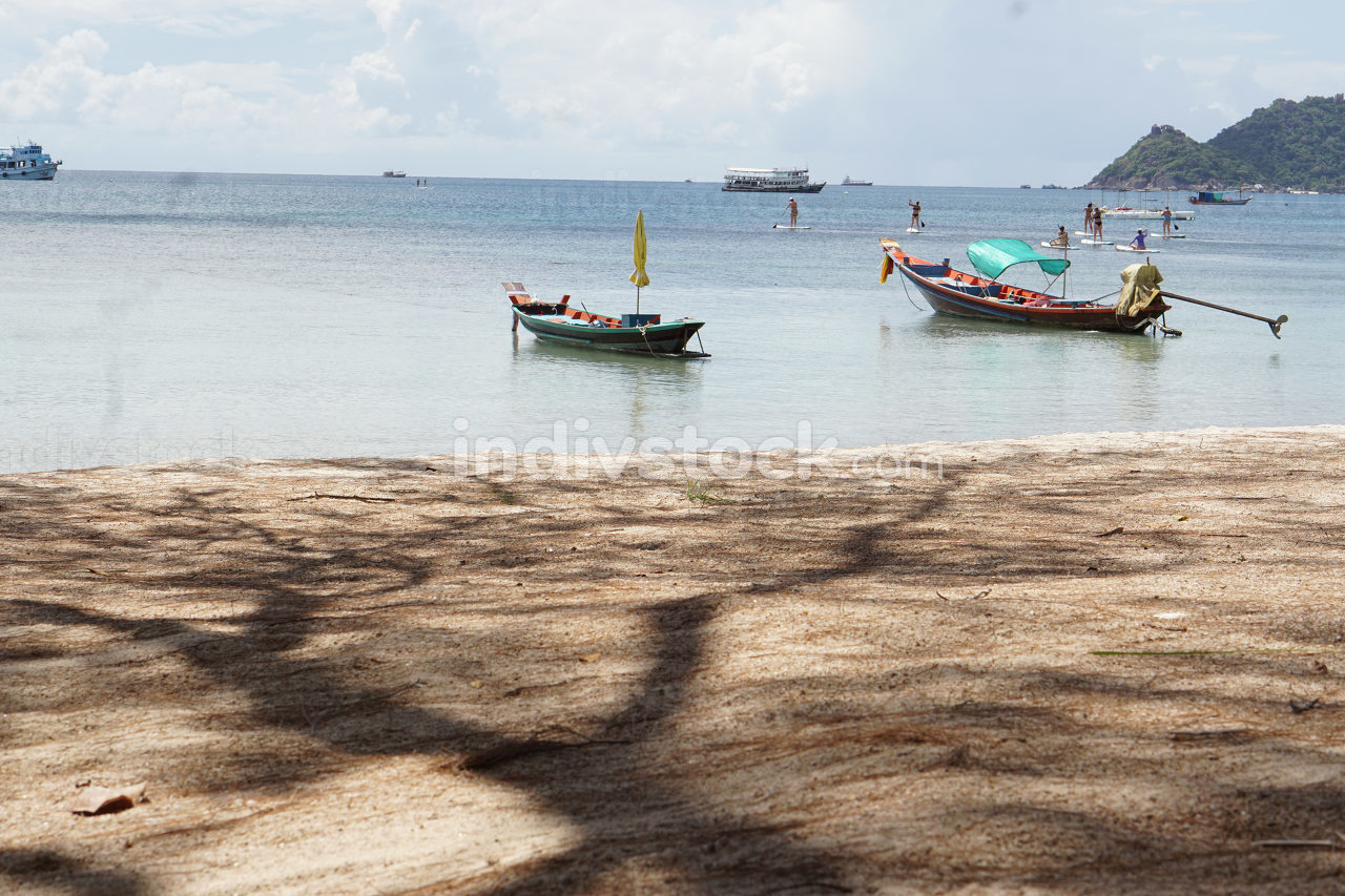 the empty beach, named Sairee at Koh Tao, with only a few people while Thailands lockdown in Koh Tao, May 8, 2021