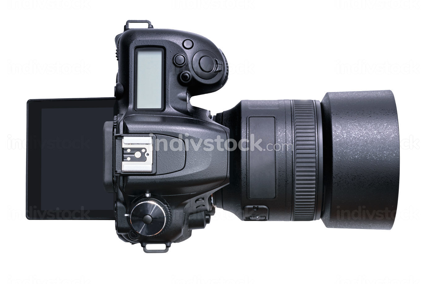 Top view of a new modern black DSLR camera isolated on a white background