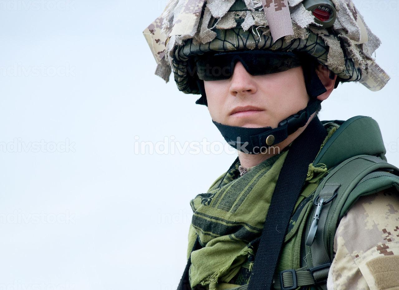 US soldier in desert uniform