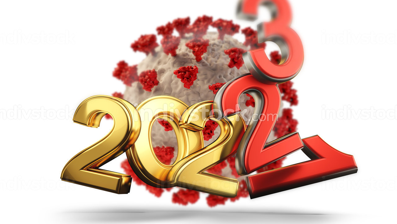years symbolic and virus cell red 2021 2022 and 2023 3d-illustration