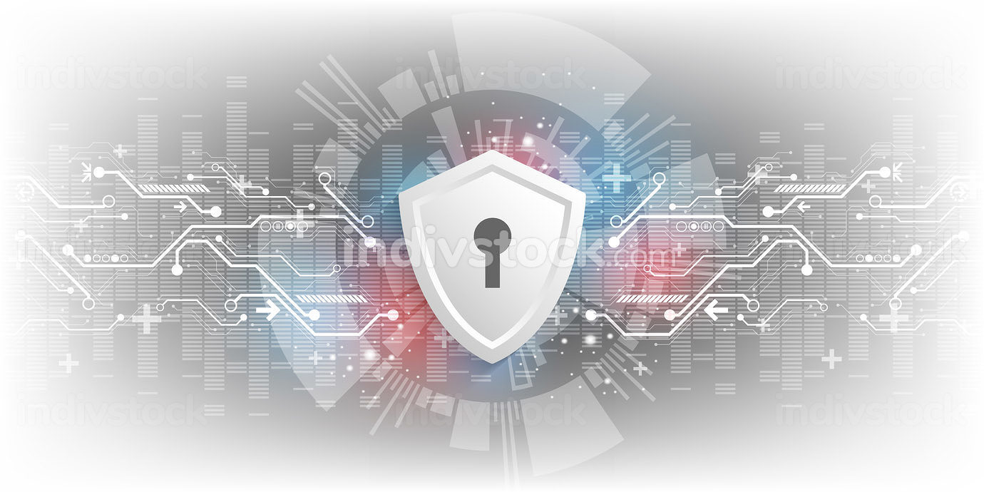 A background in the concept of technology with a shield symbolizes digital security systems.