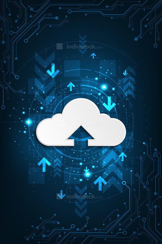 A cloud based digital transfer system symbolized on a dark blue background.