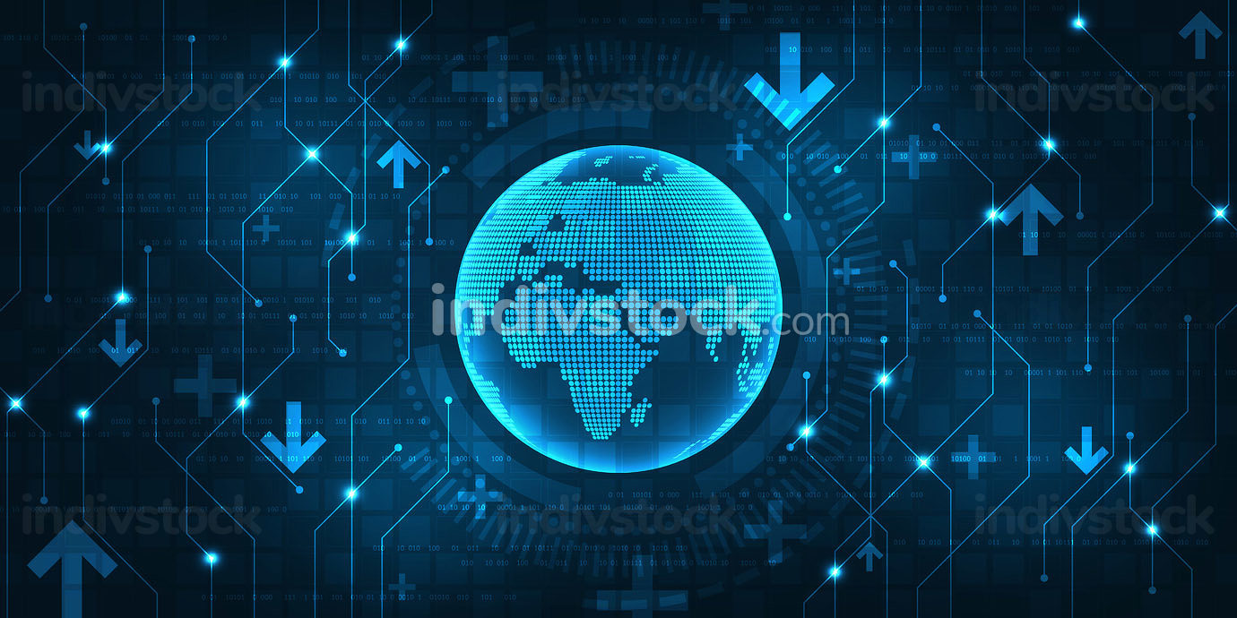 A digital world with a wealth of information transferred to compute. Technology on dark blue abstract background.