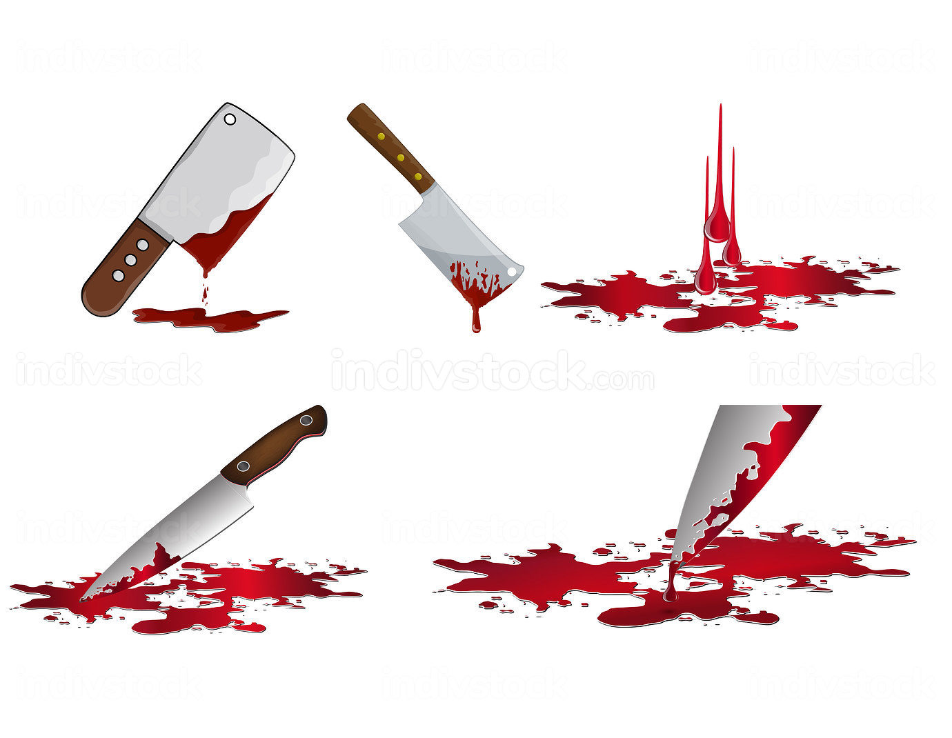 Bloody knife set. Murder weapon with red blood stains. Criminal