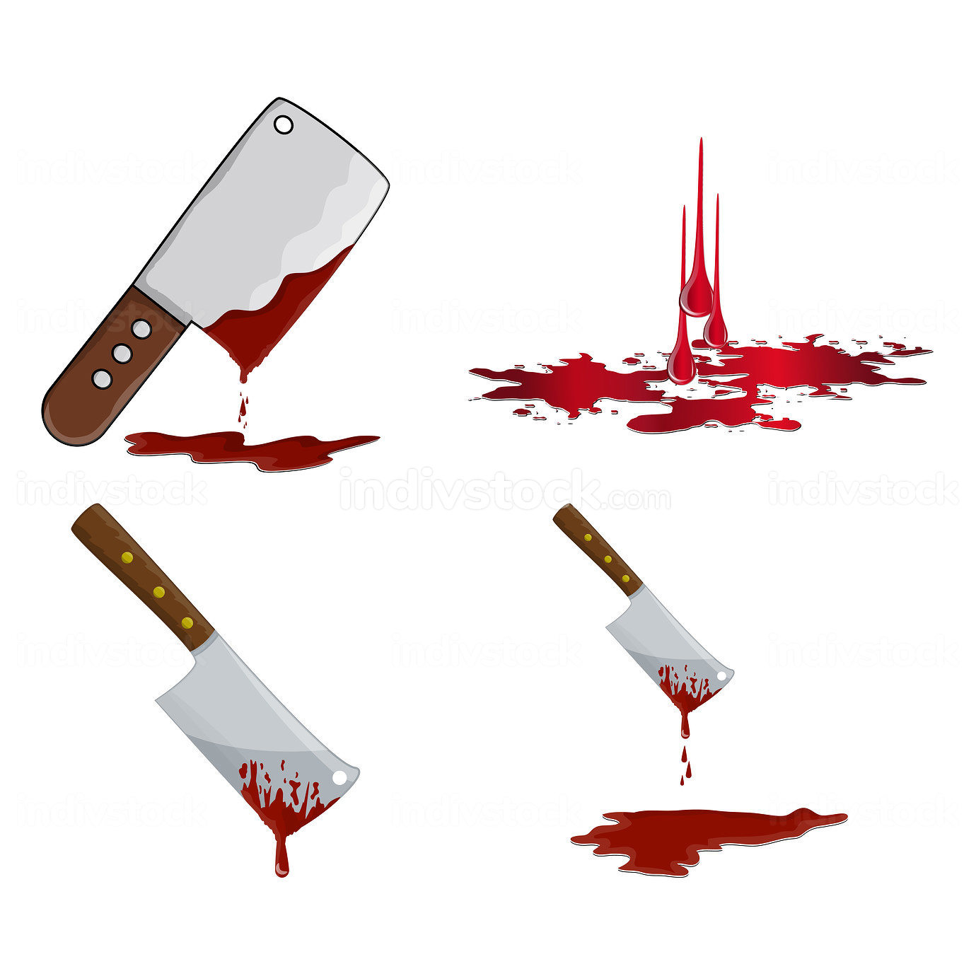 Cleaver with blood icon set. Bloody butcher knife using to cut m
