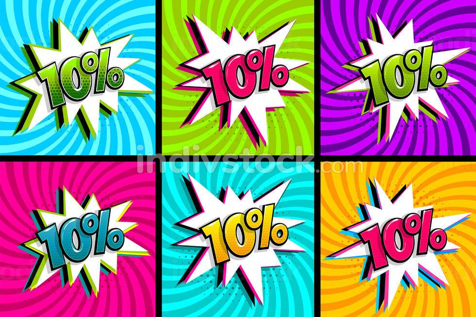 Comic text 10 percent sale set discount.