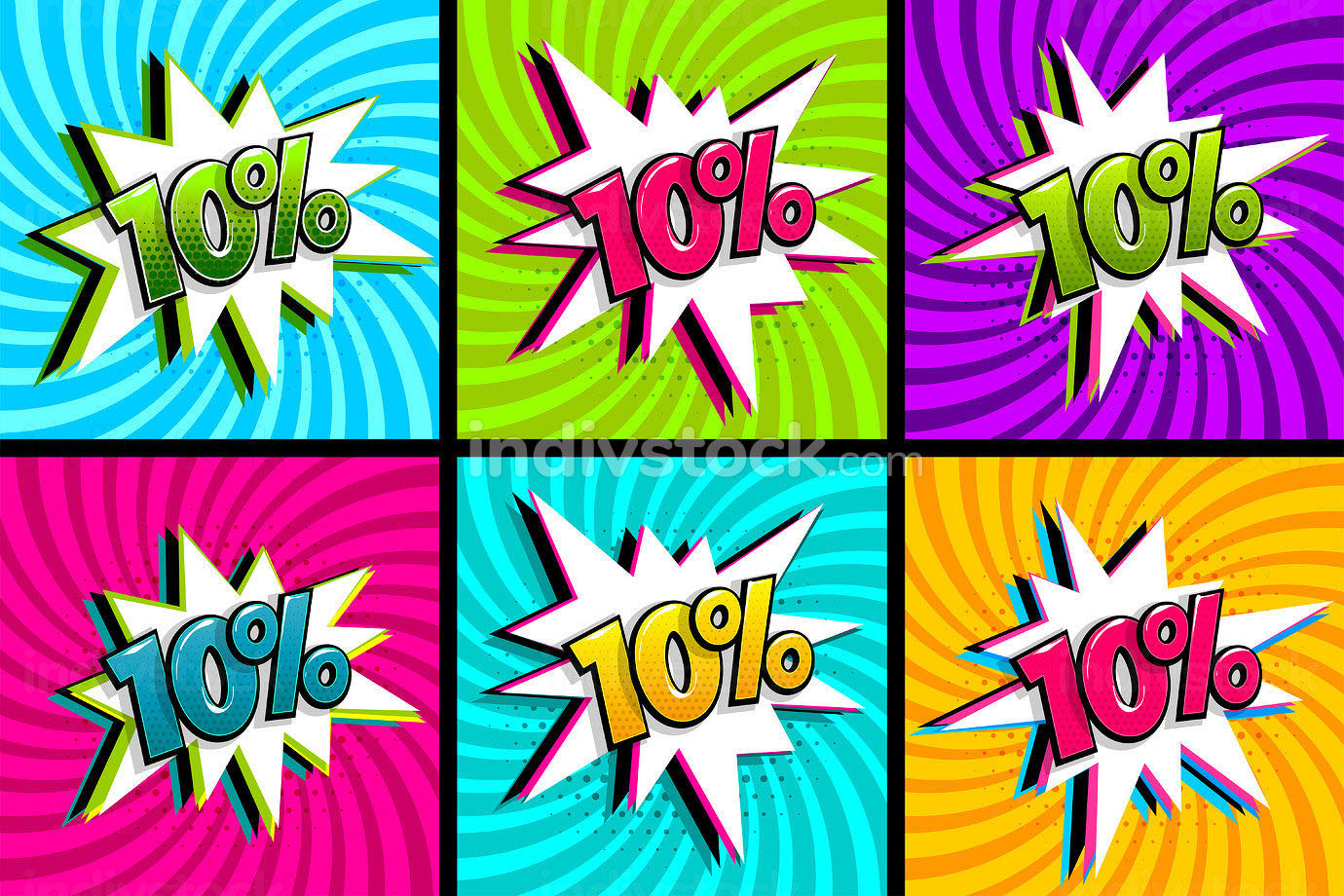 Comic text 10 percent sale set discount. Colored speech bubble on radial background. Comics book explosion wow boom offer collection. Halftone radial vintage backdrop. Promo sale ten percent poster.