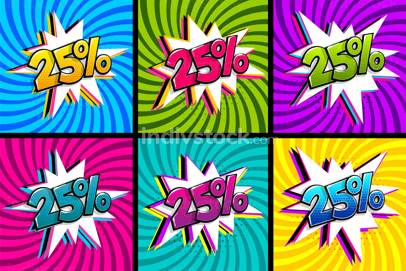 Comic text 25 percent sale set discount. Colored speech bubble on radial background. Comics book explosion wow boom offer collection. Halftone radial vintage. Promo sale twenty five percent poster