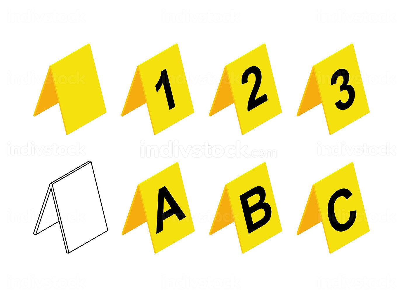 Crime scene markers design. Plastic yellow investigation label