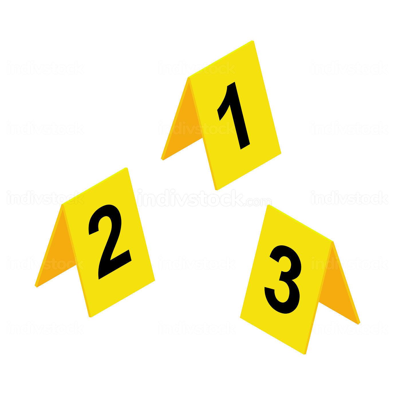 Crime scene markers icon. Yellow plastic investigation label des