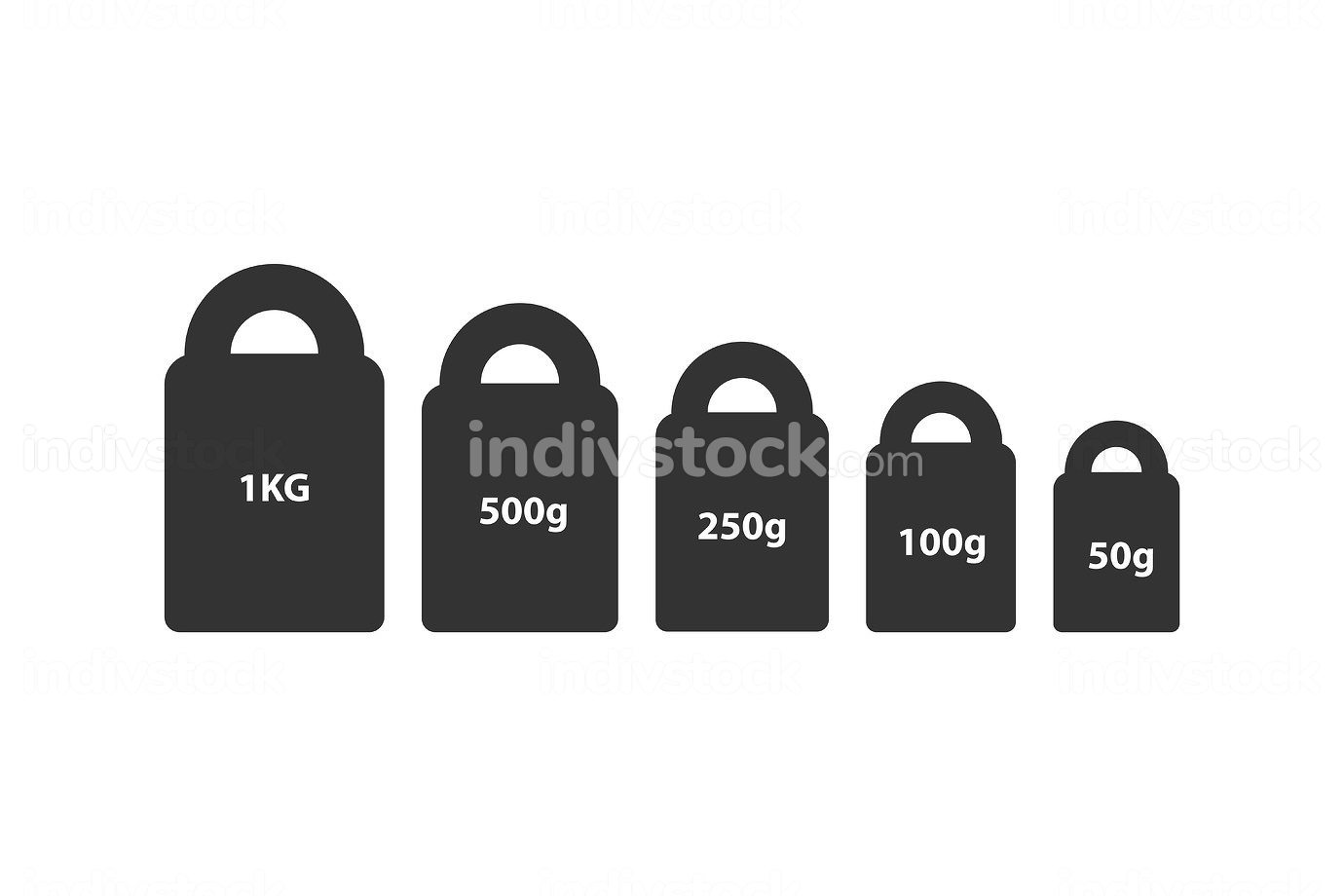 Kg weight mass black simple flat icon set. Old barbell press collection in flat design. Black silhouette isolated on white background. Weight pictogram. Metric system of units