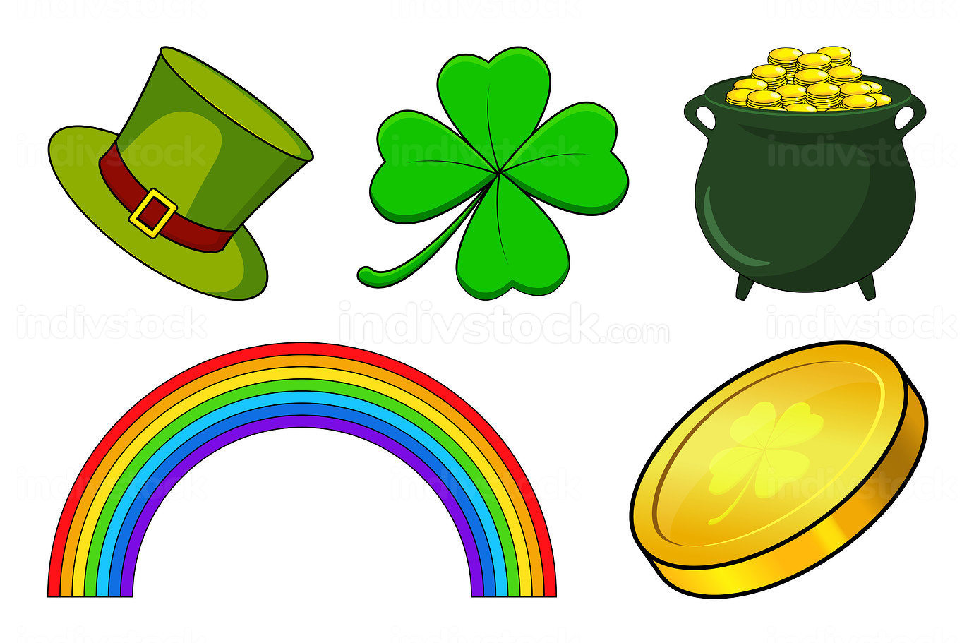 Patricks day icon set. Vector holiday collection for irish celeb