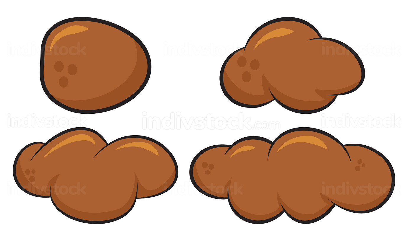 Poo poop faeces set. Human or animal stool set. Vector cartoon