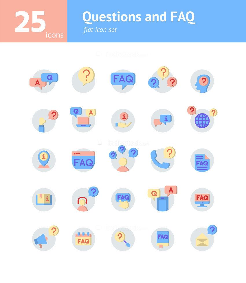 Questions and FAQ flat icon set. Vector and Illustration.