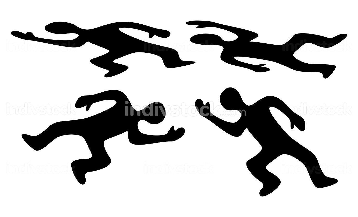 Victim body icon set. Black silhouette of dead man. Vector symbo