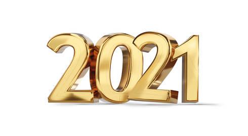 2021 golden bold letters symbol 3d-illustration