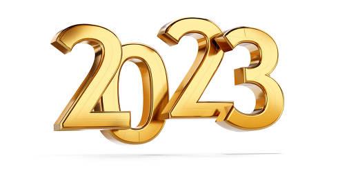 2023 golden bold letters symbol 3d-illustration