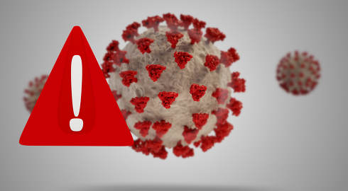 Coronavirus and warning sign 3d-illustration