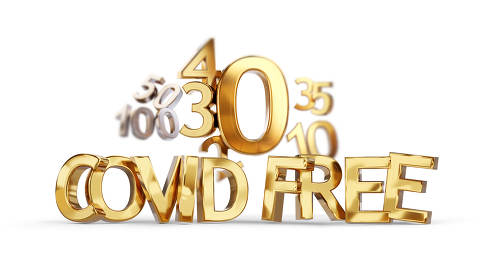 incidence zero and Covid free golden bold letters symbol 3d-illustration