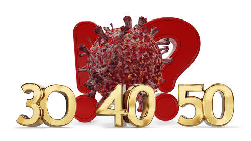 red Coronavirus cell with exclamation mark and question mark and 30 40 50 golden bold letters symbol 3d-illustration