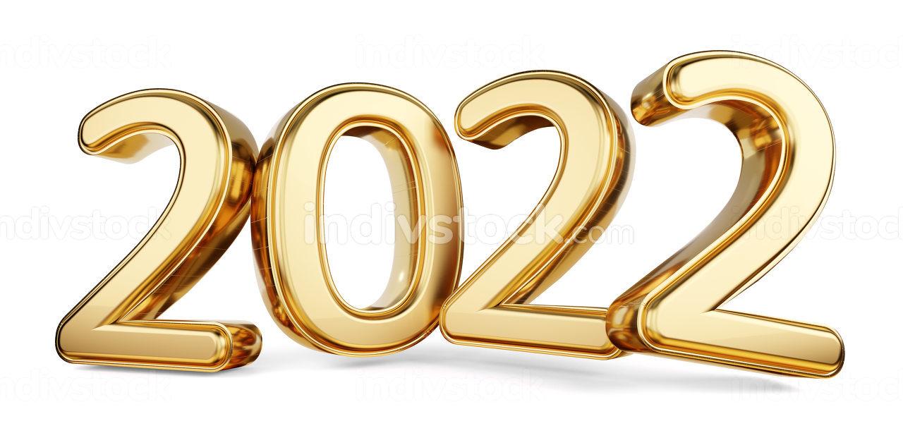 2022 bold letters golden symbol 3d-illustration