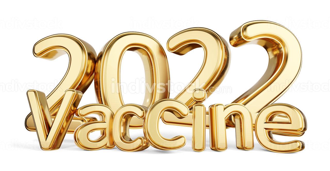 2022 vaccine golden symbolic metallic 3d-illustration