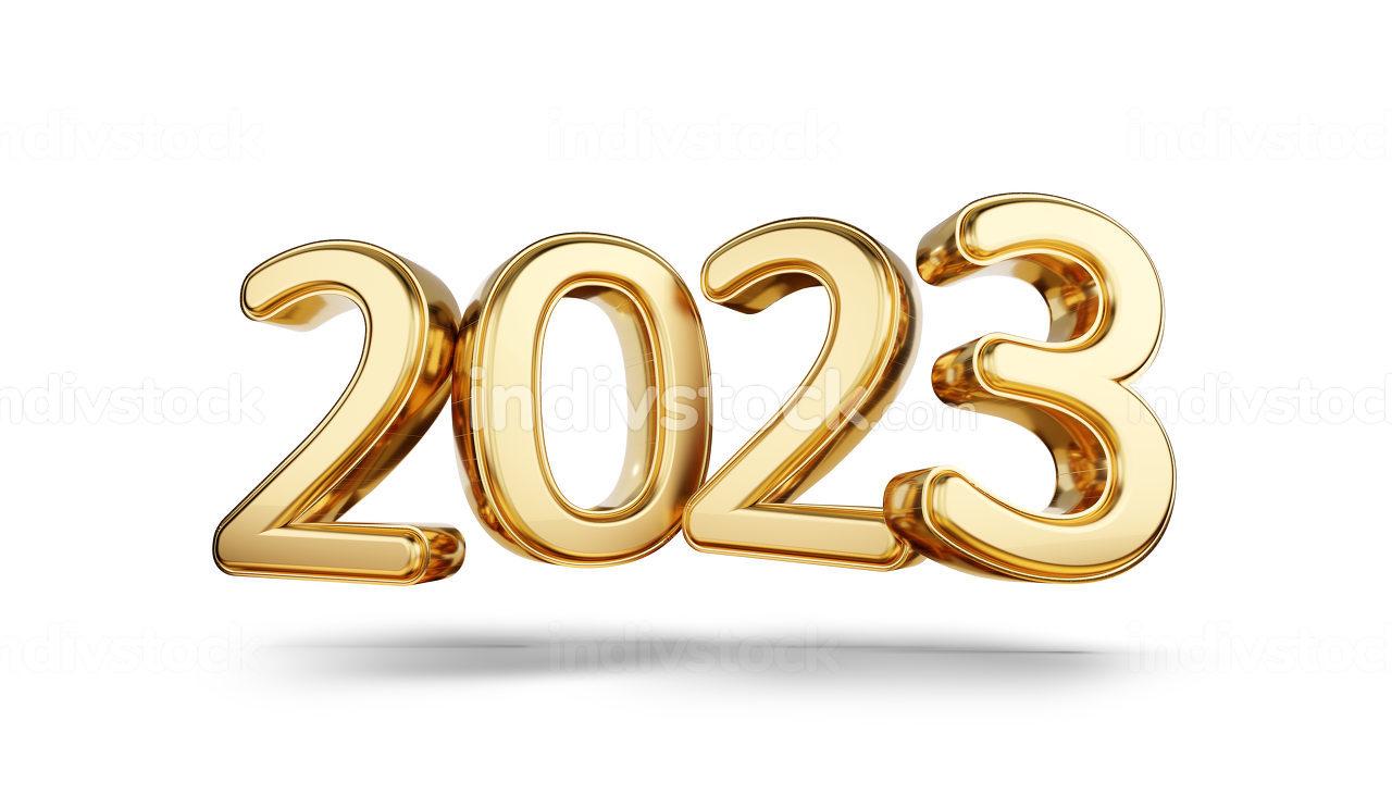 2023 bold letters golden symbol 3d-illustration