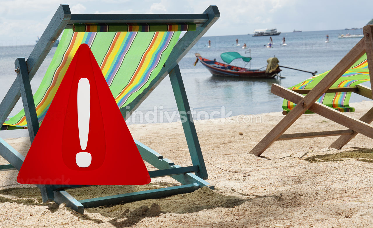 beach or travel warning. 3d-illustration warning sign design. blurred beach named Sairee in Thailand on the island Koh Tao