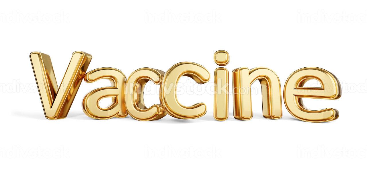 Vaccine golden bold letters 3d-illustration