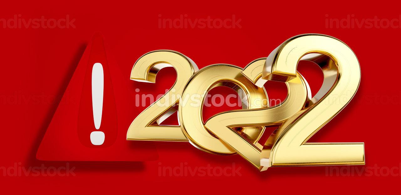 warning symbol 2022 golden 3d-illustration