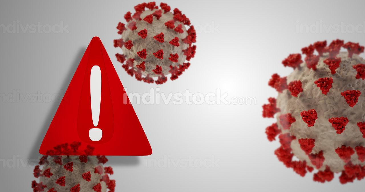 warning symbol red and Coronavirus covid-19 3d-illustration