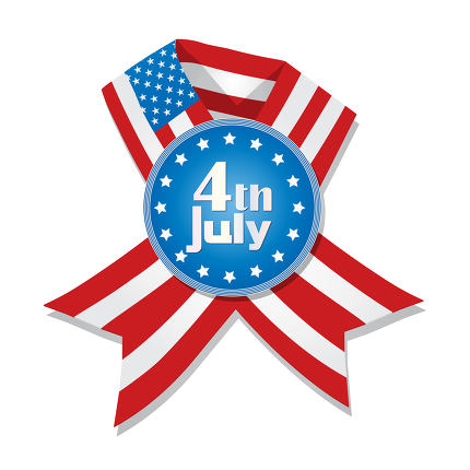 4th of July badge, ribbon with flag of United States
