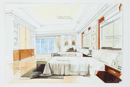 Graphic sketch an bedroom